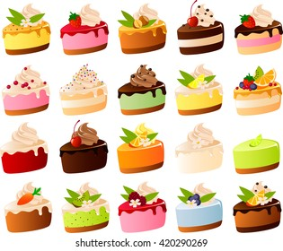 Vector illustration of various layer cakes and pies.