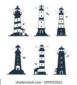 Vector illustration of various lighthouse marine labels and emblems. Lighthouse icon set with  seagulls. Lighthouse and beacon building in sea illustration.