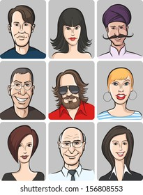 Vector illustration of various men and women faces collection. Easy-edit layered vector EPS10 file scalable to any size without quality loss. High resolution raster JPG file is included.