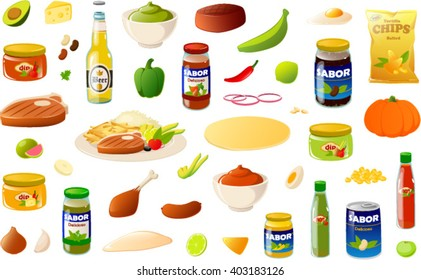 Vector illustration of various mexican/ south american food items. The word 'sabor' means 'flavor' and the word 'delicioso' means delicious.