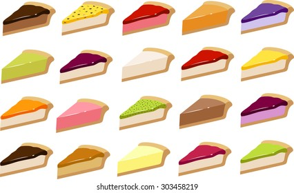 Vector illustration of various pies/ cheesecakes in different flavors.