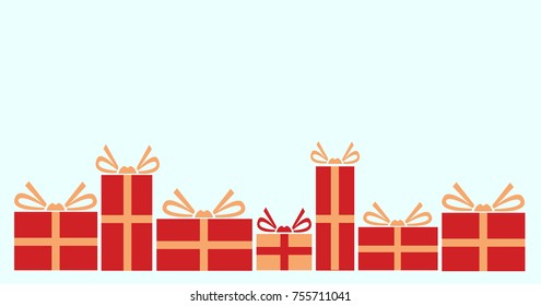 Vector illustration of various presents for Christmas. Gifts wrapped in red paper.