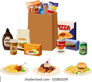 Vector illustration of various products in a paper bag plus 3 dishes.