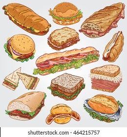 Vector illustration of various sandwiches; Philly Cheese Steak, Fried Chicken, Jambon Beurre, Hamburger, Croque Monsieur, Baguette, Hot Dog, Club, Fish Finger, Reuben, Doner, Bratwurst, Fish Sandwich.