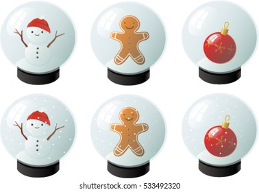 Vector illustration of various snow globes.