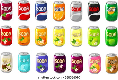 Vector illustration of various soda cans.