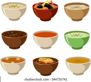 Vector illustration of various soups.