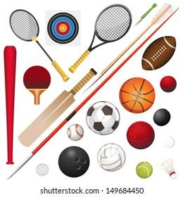 A Vector Illustration Of Various Sport Equipment
