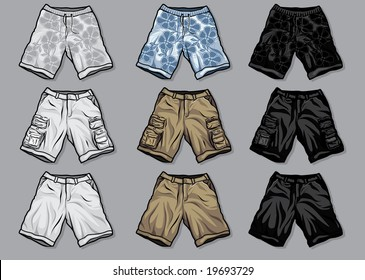 Vector illustration of various styles of men's shorts - swimming, cargo and khaki in white, color and black