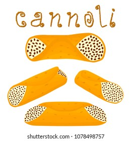 Vector illustration for various sweet waffles Sicilian dessert cannoli. Waffle crispy straw filled with ricotta cheese, wafer cannolo with vanilla and chocolate flavor cream. Eat tasty waffle Cannoli.