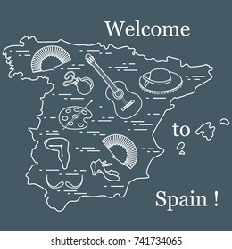 Vector illustration with various symbols of Spain arranged in a circle. Travel and leisure. Design for banner, poster or print.