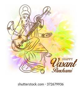 Vector illustration of  Vasant Panchami background with Goddess Saraswati .