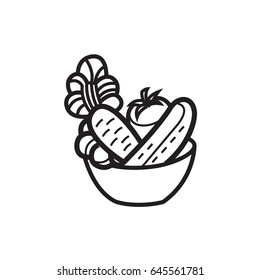 Vector illustration - Vegetable salad in a bowl - for food icon