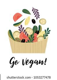 Vector illustration of vegetable salad. Elements for design