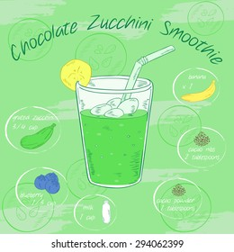 Vector illustration of vegetable smoothie in a glass with a straw and images of ingredients. Printable card or poster. Chocolate (cacao), zucchini, banana, blueberry, milk
