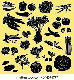 Vector Illustration of vegetables in black and white