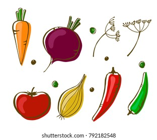 Vector illustration of vegetables: carrot, tomato, onion, peppers and beet. Design menu card for vegetarians, logo vegan shop. EPS10