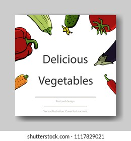 Vector illustration of vegetables. Cover template for brochures, posters, banners, postcards.
