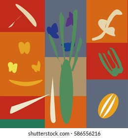Vector illustration with vegetables in the style of Matisse