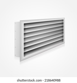 Vector illustration of ventilation louver. Gray ventilation louver perspective view. Isolated vector illustration on white. Louvers