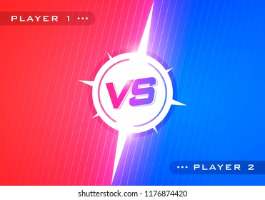 Vector illustration Versus screen design concept. Red and blue vs letters for sports, fight, competition, battle, match, game, competitive