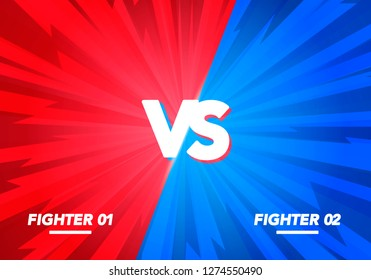 Vector Illustration Versus screen. Vs Fight background for battle, competition and game. red vs blue fighter.