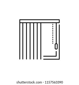 Vector illustration of vertical blind. Line icon of window shade & jalousie. Isolated object on white backround.