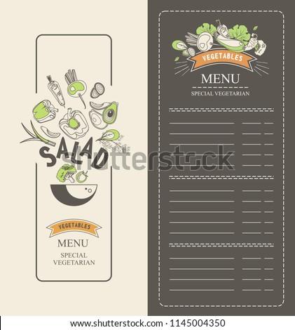 vector illustration vertical booklet menu salad stock vector
