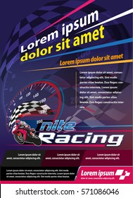 Vector illustration, vertical poster or print ads nite racing event
