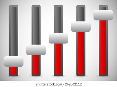 Vector illustration of vertical sliders, adjusters or faders, levers. Elements for user intefaces, UI, GUI designs.