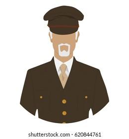 Vector illustration of veteran soldier, commander, major or general in military uniform avatar icon.