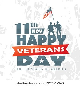 Vector illustration of veterans day, 11th November, soldiers, flag, America, USA, parade.