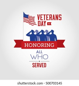 Vector illustration of veterans day, 11th November, flag, America, USA, parade.