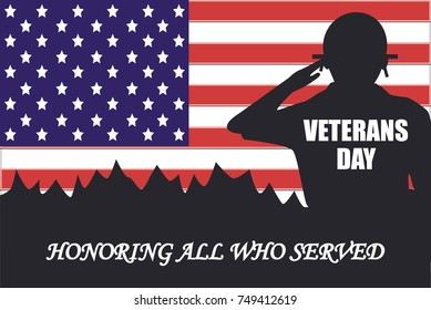Vector illustration of Veterans day banner. US military armed forces soldier in silhouette saluting.