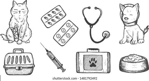 Vector illustration of veterinarian clinic doctor icons. Cat, dog, medication pills, stethoscope, food, carrier basket, doctors tools case or toolbox. Vintage hand drawn style.