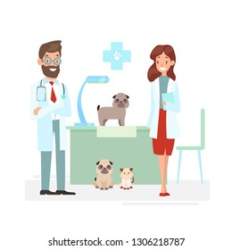 Vector illustration of veterinarians staff with cute animals. Vet and pet doctors with dogs and cat. Veterinary concept, pets care, animals and doctors in cartoon flat style.
