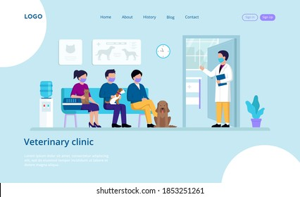 Vector Illustration Of Veterinary Clinic With Inscriptions And Buttons. Website Template Elements. Cartoon Flat Style Characters With Pets Waiting For Doctor Sitting On Couch. Retreat Interior Design