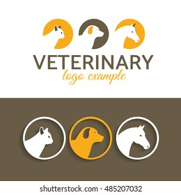 vector illustration. veterinary logo. cat, dog, horse frame. template for example a company logo help animals pet. stylish design graphics