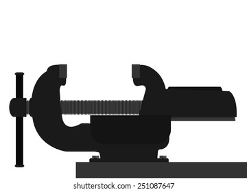 Vector illustration. Vice for fixing objects. Isolated on white background.