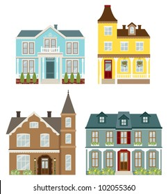 Vector illustration of Victorian style houses.