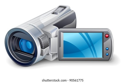 Vector illustration of of video camera on white background