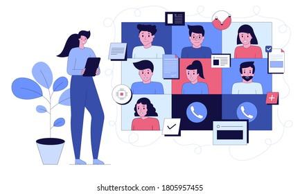 Vektorgrafik für Videokonferenzen, Fernarbeit, Technologiekonzept. Gruppenvideokonferenz. Mann auf dem Desktop chattet mit Freunden online. Mitarbeiter, die Computer für kollektive virtuelle Meetings verwenden.
