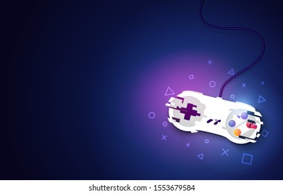 Vector Illustration Video Game Console Pad. Gaming Concept. Top View Retro Joystick On Dark Background