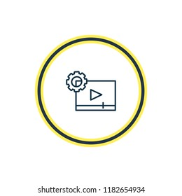 Vector illustration of video maker icon line. Beautiful entertainment element also can be used as cinematography icon element.