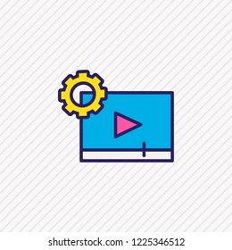 Vector illustration of video maker icon colored line. Beautiful activities element also can be used as cinematography icon element.