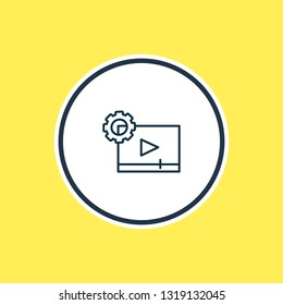 Vector illustration of video maker icon line. Beautiful activities element also can be used as cinematography icon element.