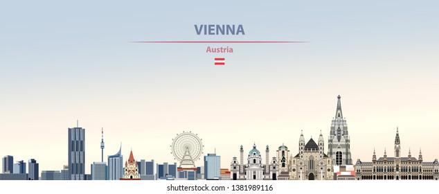 Vektorillustration-Illustration der Wiener Skyline auf buntem Farbverlauf-schönem Hintergrund