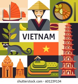 Vector illustration with Vietnamese culture, food and nature icons, including Portrait of Vietnamese, soup pho, Cham towers and rice plantations in trendy flat style.