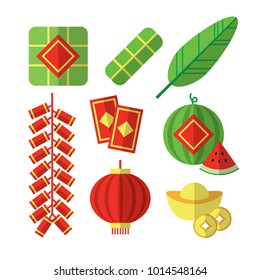 Vector Illustration of Vietnamese Tet Lunar New Year items