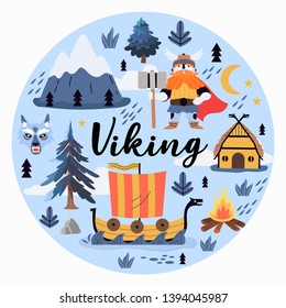 Vector illustration of a viking, drakkar, mountains and floral elements on a blue background that can be used for t-shirt print design, greeting card and other decorations.